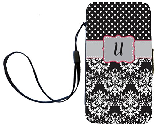 "Rikki Knighttm Rikki Knight Initial ""U"" Grey Pink Black Damask Dots Monogrammed Galaxy S4 Pu Leather Wallet Type Flip Case With Magnetic Flap And Wristlet For Samsung Galaxy S4 I9500 front-622651"