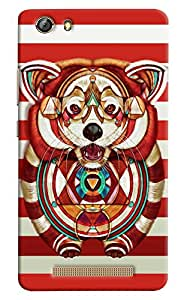 Omnam Wolf Printed On Red And White Stripes Printed Designer Back Cover Case For Gionee Marathon M5 Lite