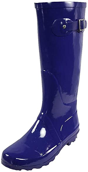 NORTY - Womens Hurricane Wellie Solid Gloss Hi-Calf Rain Boot, Purple 38743-8B(M)US
