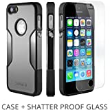 iPhone 5s Case, Gray - *Bonus Glass* Rugged Protection, Thin and Lightweight, Includes Tempered Glass Screen Protector, Professional Camera Hood, Stunning Colors Including Sahara Mist Sahara Case