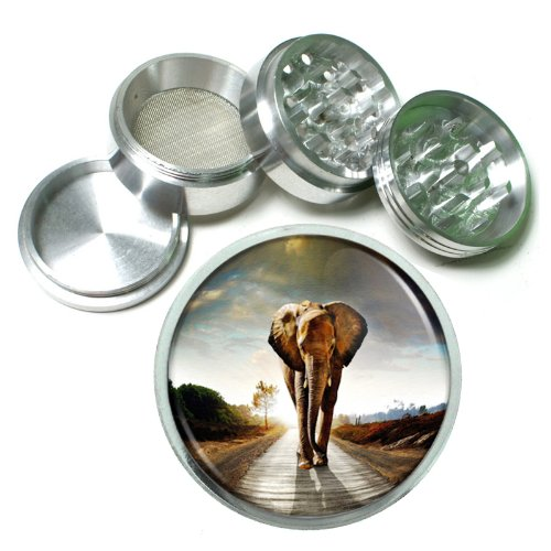 "63Mm 2.5"" 4 Pc Aluminum Sifter Magnetic Herb Grinder Elephant Design-006"