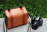 Westlinke Pu Leather High Quality Professional DSLR Camera Bag case Travel Photo Shoulder Bags for Canon nikon pentax sony - Brown Color+Westlinke LOGO stylus