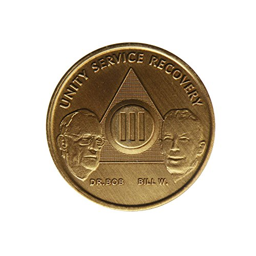 3 Year Bill & Bob Founders Edition Bronze AA (Alcoholics Anonymous) Birthday - Sober / Sobriety / Anniversary / Recovery / Medallion / Coin / Chip
