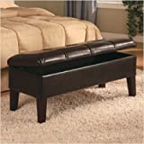 Brookings Leather Bedroom Bench with Storage and Wood Feet in Brown