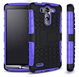 LG G3 Case, [HEAVY DUTY] LG G3 Armor cases [KICKSTAND] Tough Armorbox Dual Layer Hybrid Hard/Soft Protective Case by Cable and Case® - Purple Armor Case