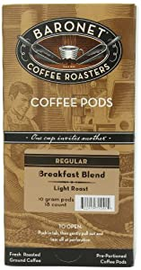 Baronet Coffee Breakfast Blend Light Roast, 18-Count Coffee Pods (Pack of 3)