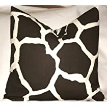 Chocolate Java Brown & Natural Giraffe Print Throw Pillow Cover 18