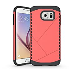 buy Galaxy S6 Case, Easytop Lightweight Slim Hybrid Dual Layer Hard Shell Combine Shock-Absorption Black Soft Rubber Bumper Armor Defender Protective Case (Red)