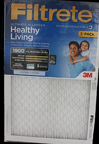 Filtrete Ultimate Allergen Healthy Living Air Filter 16x25x1 1900 MPR (3-pack)