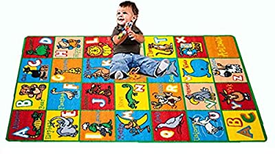"Kids Rug ABC Animals Area Rug 5' x 7' Children Area Rug for Playroom & Nursery - Non Skid Gel Backing (59"" x 82"")"