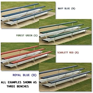 5 Row 50 Seat 15 Powder Coated Aluminum Bleachers With Double Footboard from SSG / BSN