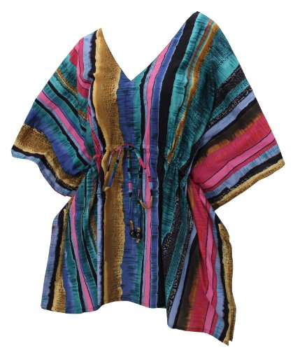 La Leela 100% Cotton Stripe Printed Beach Swim Cover Up Tunic