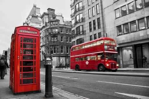 Sky Wall Decals Telephone Booth And Red Bus In London (Uk) - 48 Inches X 32 Inches - Peel And Stick Removable Graphic front-785023