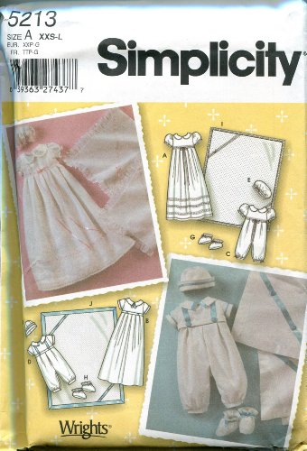 Simplicity Sewing Pattern 5213 Size A (XXS-L) Babies' Christening Gown, Romper, Booties, Hat, and Blanket (Christening Gown Sewing Pattern compare prices)