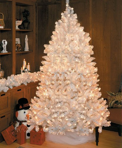 7.5' Pre-Lit Crystal White Medium Artificial