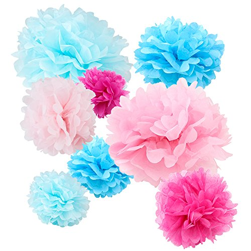 """WYZworks Set of 8 (Assorted Bubblegum Color Pack) 8"""" 10"""" 12"""" Tissue Pom Poms Flower Party Decorations for Weddings, Birthday, Bridal, Baby Showers Nursery Décor"""