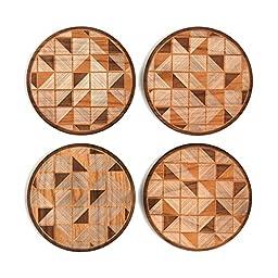 Geo Tiles Wood Coasters