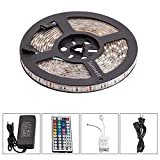 Sunnest 16.4ft 5M Waterproof Flexible LED Strip Lights 5050SMD RGB 300 LED Color Changing LED Strip Kit with 44Key Remote+12V 5A Power Supply+IR Control Box