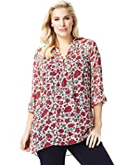 Plus Nehru Collar Floral Crinkle Blouse