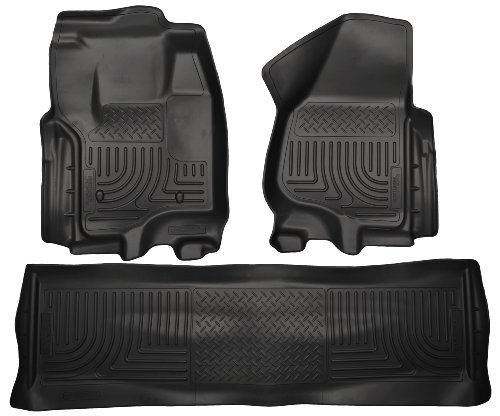 2012 - 2015 Ford F-250 F250 Super Duty Crew Cab - WeatherBeater Floor Mats Liners - Husky Black Front & Rear by Husky Liners (Husky Floor Mats Ford F250 compare prices)