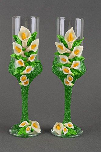 Flûtes à champagne Vaisselle en verre fait main 20 cl 2 pièces Cadeau mariage
