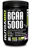 NutraBio BCAA 5000 Powder - 400 Grams - GRAPE - 100% Pure Branched Chain Amino Acids - HPLC Tested.
