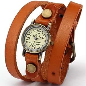 Ailisha Bronze Lady Wrap Bracelet Bangle Orange Leather Quartz Wrist Watch WAA385