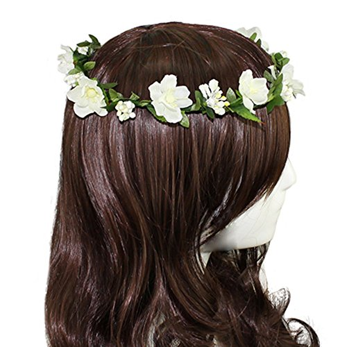 Floral Fall BOHO Headband Flower Crown Festival Wedding Beach Hair Wreath F-01 (Ivory)