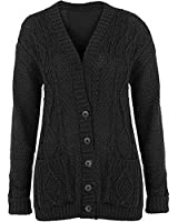 NEW WOMENS LADIES PLUS SIZE CHUNKY CABLE KNITTED BUTTON GRANDAD CARDIGANS UK8-22