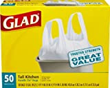 Glad Tall Kitchen Handle-Tie Trash Bags, White, 13 Gallon, 50 Count (Pack of 4)