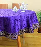 "Hand Embroidered Round Tablecloth (Plum Purple, 70"" Round)"