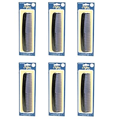 Ajax Unbreakable Hair Combs Super Flexible Pocket Sized Lifetime Guarantee - Proudly Made in the USA (Pack of 6)