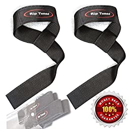 Lifting Wrist Straps by Rip Toned (Pair) - Bonus Ebook - Cotton Padded - For Weightlifting, Bodybuilding, Crossfit, Strength Training, Powerlifting, MMA (Black)