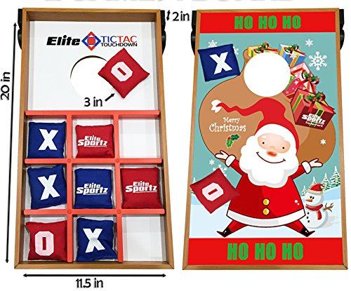 Junior Cornhole Bean Bag Toss Game for Kids - Reversible, 2 Games on 1 Board - Tic Tac Toe and Cornhole Party Games for Kids - Santa (Toddler Corn Hole compare prices)