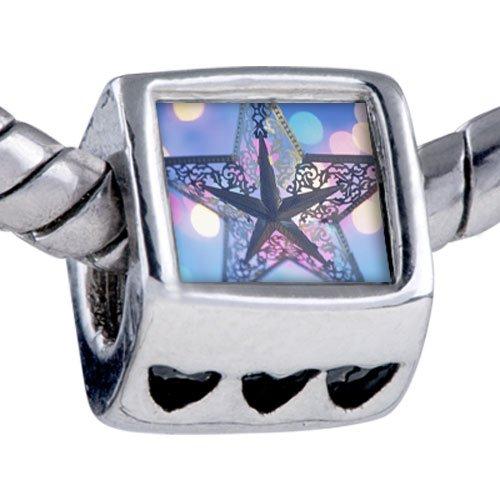 Pugster Silver Plated Photo Bead Christmas Star Beads Fits Pandora Bracelet