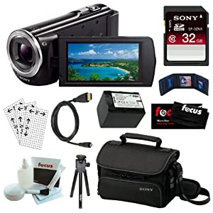 Sony HDR-CX380 16GB Embedded Memory HD Handycam Camcorder with 30x Optical/ 55X Extended Zoom and 3-inch Touch Screen in Black + Sony 32GB SDHC + Wasabi NP-FV70 Battery + Micro HDMI Cable + Sony Carrying Case + Accessory Kit