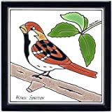 SONG SPARROW TILE, SONG SPARROW WALL PLAQUE, SONG SPARROW TRIVET by Besheer Art Tile, Bedford, New Hampshire, U.S.A.
