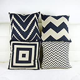 Monkeysell .4 Pcs Black and Beige Stripe Vintage Style Cotton Linen Sofa Home Decor Design Throw Pillow Case Cushion Covers Square 18 Inch (4 Pcs Black and Beige-1)