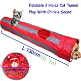PAWZ Road Pet Toys Cat Tunnel Dog Tube 2 Holes Collapsible Red and Grey