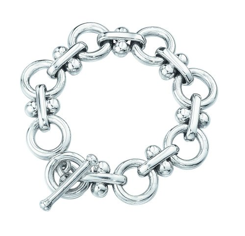 Elements Sterling Silver Ladies' B473 Chunky Ball and Link T-Bar Bracelet
