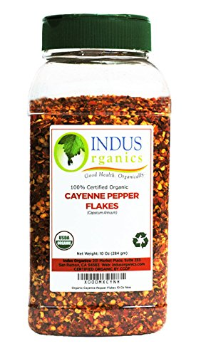 Indus Organic Cayenne Pepper Flakes 10 Oz Jar, 40,000 SHU (Chili Pepper Organic compare prices)