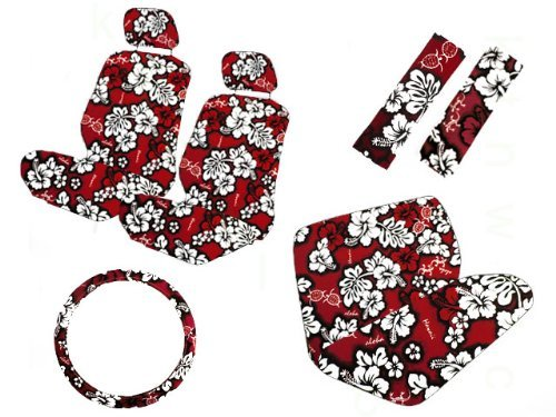 A Set Of 11 Piece Red Hawaiian Hibiscus Floral Aloha Print Seat Cover