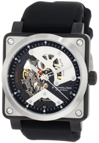 Stuhrling Original Men's 179A.331613 Leisure Raven Diablo Automatic Skeleton Black Rubber Strap Watch