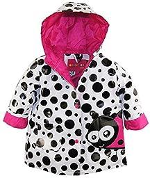 Wippette Baby Girls Waterproof Vinyl Big Polka Dot with Ladybug Raincoat Jacket, Pink Glow, 24 Months