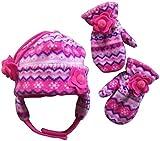 NIce Caps Girls Fair Isle Print Micro Fleece Hat And Mitten Set