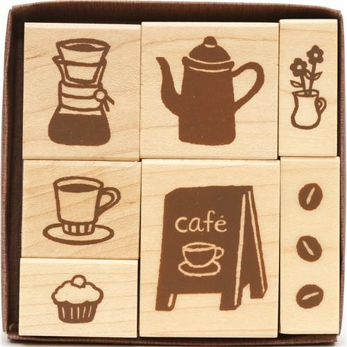 beautiful wooden stamp set coffee shop from Japan