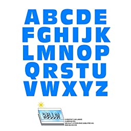 Alphabet Letters Uppercase Blue SLAP-STICKZ(TM) WALLS Peel and Stick Vinyl Stickers - Laminated Wall Graphics Decals