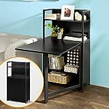 SoBuy Wandschrank, Wandklapptisch, Standregal, Bücherschrank mit klappbarem Schreibtisch, Computertisch, Schreibtisch Schwarz,FWT12-SCH