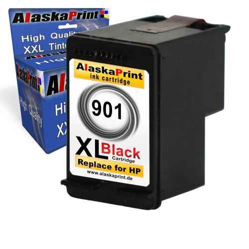 1x Druckerpatrone Ersatz für Hp 1x 901 XL Original alaskaprint Tinte Officejet J4540 black 20ml Ersatz für Hp cc654ae ( 901 xl , hp901xl) , schwarz, bk Primaserie