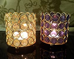 TiedRibbons® Tealight candles Holder Set of 2 (crystal T light holders, Multicolor) with Tealight Candles